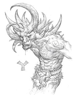 Yehwe zogbanu- African myth: a thirty horned, forest dwelling giant. He is a constant threat to hunters.