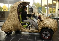 """""""Bamgoo"""", an electric car with a body made out of bamboo, is displayed in Kyoto, western Japan November 14, 2008. The sixty-kilogram single-seater ecologically friendly concept car, which measures 270 centimeters in length, 130 centimeters in width and 165 centimeters in height, is developed by Kyoto University Venture Business Laboratory, featuring bamboo articles in the Kyoto area. The car can run for 50 kilometers on a single charge. (Photo by Issei Kato/Reuters)"""