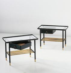 Jacques Adnet - Pair of side tables with drawers