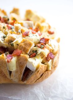 Baked brie is such a nostalgic holiday recipe. I'm taking it one step further with this Bacon Brie Pull Apart Bread. Bacon Recipes, Casserole Recipes, Bread Recipes, Milk Recipes, Sausage Casserole, Chicken Casserole, Mexican Recipes, Vegetarian Recipes, Candied Walnuts
