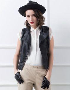 Black Sleeveless Diamond Patterned PU Jacket - Fashion Clothing, Latest Street Fashion At Abaday.com