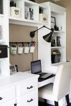 Home office- craft room- reveal- home office space- craft supply storage ideas- One Room Challenge- renovation- home tour- office makeover- One Room Challenge Reveal Week farmhouse style office- neutral decor- built in shelving- styling shelves - Rooms Home Office Storage, Home Office Organization, Home Office Space, Home Office Design, Home Office Decor, Home Decor, Office Designs, Organization Ideas, Bedroom Storage