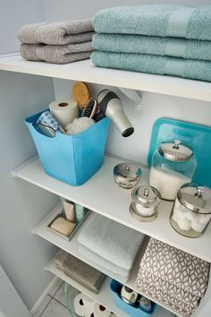 Add fun, bright pops of color in the linen closet with our growing collection of Fabric Bins and Drawers!