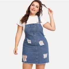 fe173512da Women s Hem Distressed Plus Size Overall Denim Dress Straps Sleeveless  Ripped Clothing