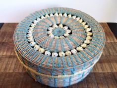 "Vintage 7 1/2""  African Artisan Handwoven Cowry Shell Lidded Basket by ObjetLuv on Etsy"
