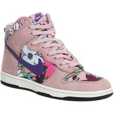 Nike Dunk Hi Skinny ($125) ❤ liked on Polyvore featuring shoes, sneakers, trainers, hers trainers, pink aloha print, traction shoes, lightweight shoes, nike sneakers, nike and nike trainers