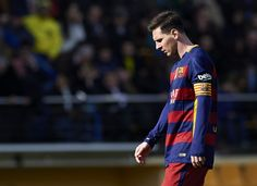Lionel Messi of Barcelona reacts during the La Liga match between Villarreal CF and FC Barcelona at El Madrigal on March 20, 2016 in Villarreal