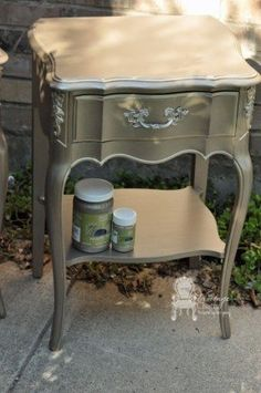 French Provincial Nightstands in Modern Masters Metallic Paint Metallic Painted Furniture, Silver Furniture, Paint Furniture, Metal Furniture, Furniture Projects, Furniture Making, Furniture Makeover, Bedroom Furniture, Home Furniture