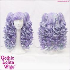 Lavender Mint purple lilac blend mix long cute gothic lolita wigs with detachable ponytails