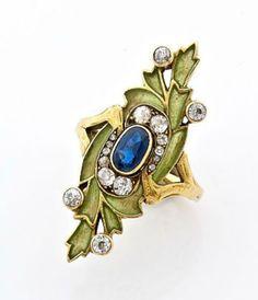 "A SAPPHIRE, DIAMOND AND YELLOW GOLD "" ART NOUVEAU "" RING. CIRCA 1900"