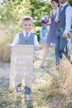 Green Villa Barn & Gardens wedding ceremony with ring bearer holding a burlap sign forever and ever amen (Diy Garden Wedding) Wedding Ceremony Ideas, Wedding Signs, Our Wedding, Dream Wedding, Church Wedding, Trendy Wedding, Wedding Blog, Lace Wedding, Wedding Dresses