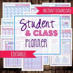 Student Planner-College Planner, Homework Planner, Organizer-17 Sheets-Dots-INSTANT DOWNLOAD & EDITABLE