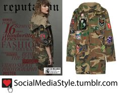 Buy Taylor Swift's Oversized Camo Jacket with Patch Detail from Reputation Vol 2, here!