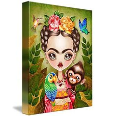 Frida Querida by Sandra Vargas – Mexican Chic Boutique Frida Paintings, Mexican Paintings, Big Eyes, Birds, Shapes, Caricatures, Canvas, Artist, Portraits