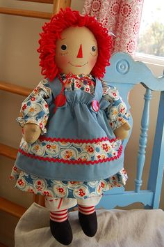 Handmade Raggedy Ann Doll by dollsfromtheloft on Etsy