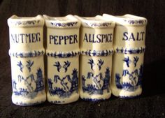Blue Willow   SET OF 4 VINTAGE BLUE WILLOW SALT/PEPPER SHAKERS BLUE AND WHITE JAPAN ...