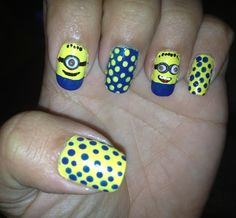 Minion - nail art! check out www.ThePolishObsessed.com for more nail art ideas.