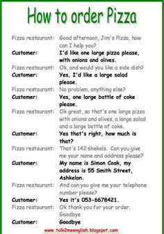 How to order pizza in English Learn English Speaking, English Learning Spoken, Teaching English Grammar, English Writing Skills, English Reading, English Language Learners, English Vocabulary Words, English Phrases, Learn English Words