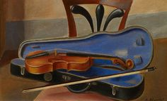 Still Life with Violin - Blanchet, Alexandre Swiss, Oil on canvas ,