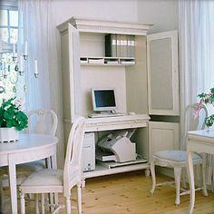 Mooie witte computerkast 350 computerkast pinterest witte meubels massief grenen en grenen for Home office ideeen
