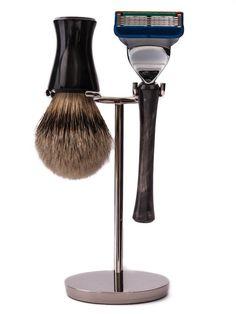 set da barba in vero corno e pennello in purp tasso - martinato.com