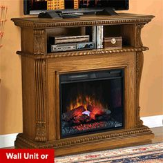 "Corinth 23"" Premium Oak Electric Fireplace Cabinet Corner Mantel Package - 23DE1447-O107"