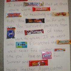 Candy Bar Teacher Thank You | Teacher appreciation candy bar poster