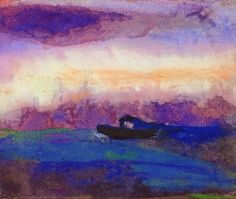 Emil Nolde, 'Sea with Violet-Blue Clouds and Steamer'