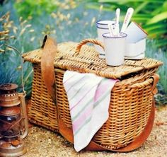 Lovely old fishing creels make wonderful picnic baskets.