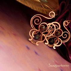 Lorratega * night garden earrings wirewrapping * wirewrapped * jewelry * copper * romantic * fantasy * fairy * elf * fairytale * magic * art nouveau * handmade