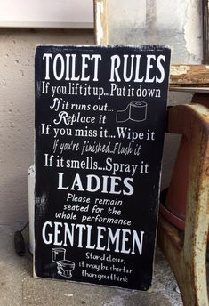 Toilet Rules Wooden Sign bathroom wall art funny bathroom sign bathroom rules bathroom humor rustic home decor painted wooden sign