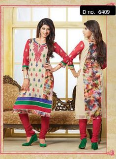 Beautifully designed Netted Printed cotton Straight cut Salwar Suit Multi colored with beautiful embroidery work done. Comes along with Matching Cotton Bottom and Chiffon Duppatta.