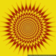 Hypnotic Vibes Gianna Sarcone Digital Don't stare at this pulsating optical illusion for too long or it might hypnotize you. Some people can even Cool Optical Illusions, Art Optical, Op Art, Illusion Kunst, Foto 3d, Psychedelic Art, Mellow Yellow, Still Image, Fractal Art