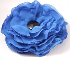 OOAK flower brooch electric blue soft veil by CrystalHandmade, $14.00 Flower Brooch, Electric Blue, Veil, Brooches, Trending Outfits, Unique Jewelry, Handmade Gifts, Flowers, Etsy