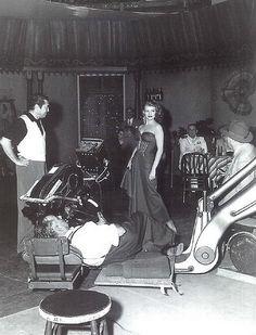"Director Vincent Sherman (left) & Rita Hayworth (rumored affair) on the set of  ""Affair in Trinidad"""