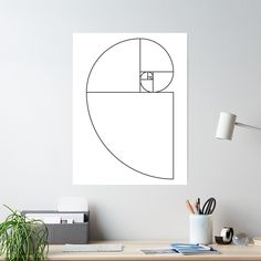 'Golden Ratio Spiral - Sections Outline' Poster by joshdbb Golden Ratio Spiral, Blank Walls, Floating Nightstand, Sell Your Art, Outline, Poster, Home Decor, Floating Headboard, Decoration Home