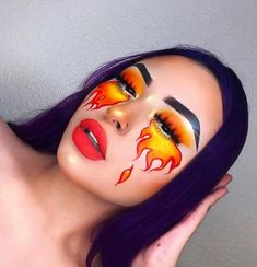 Are you looking for ideas for your Halloween make-up? Check this out for cute Halloween makeup looks. Fire Makeup, Eye Makeup Art, Colorful Eye Makeup, Sfx Makeup, Yellow Makeup, Yellow Eyeshadow, Bright Makeup, Eyeshadow Makeup, Pastell Make-up