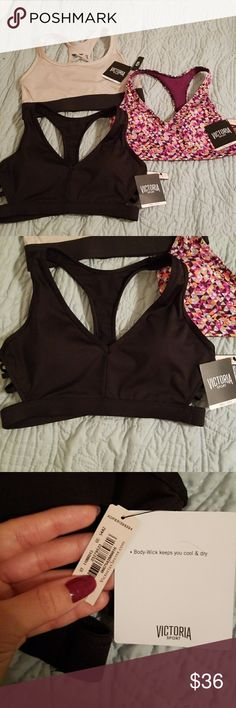 e4402df02f380 3 New Victoria s secret Sports bras All 3 with tags. The black   purple  have sponge support. The top one has no sponge.