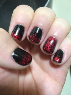 Simple black and red glitter mani!!