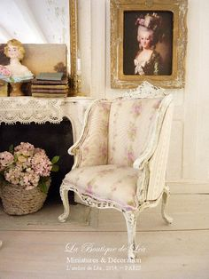 French Bergere, Louis XV, Shabby pink strips of roses, 18th century, Wooden French furniture for a dollhouse in 1:12 th scale    Key for a typically