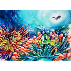 Coral wonderland-watercolour ink & airbrush on arches watercolour 300g paper-29x41cm #whitagram #coral #reef #australia #wonderland #greatbarrierreef #diver #fish #colourful #sea #water #underwater #ocean #watercolour by soobenglim http://ift.tt/1UokkV2