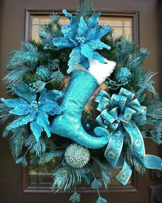 Turquoise Christmas Wreath Peacock Wreath Peacock by LuxeWreaths