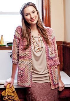 FREE granny jacket. Adorable. Retro and classic. ༺✿ƬⱤღ http://www.pinterest.com/teretegui/✿༻