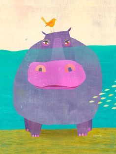 """""""Happy Hippo"""" - Canvas Wall Art by Oopsy daisy featured artist Melanie Mikecz! Use Acrylics and watercolor? Mixed media with paper layers? Art And Illustration, Illustration Mignonne, Arte Elemental, Art Design, Graphic Design, Elementary Art, Teaching Art, Oeuvre D'art, Art Lessons"""