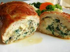 Chicken roll, wrapped in prosciutto, stuffed with spinach, mushrooms and ricotta ( was ok, nothing to write home about ) Hungarian Recipes, Hungarian Food, Prosciutto, Ricotta, Family Meals, Quiche, Spinach, Main Dishes, Stuffed Mushrooms