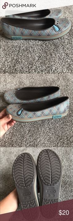 EUC Slip on super cute Crocs sz 7 Excellent like new condition!! Women's slip on Crocs size 7 I am a 7.5 and they fit me! They are so comfy! No flaws prob worn one time! Just cleaning out! Smoke free home! CROCS Shoes Flats & Loafers