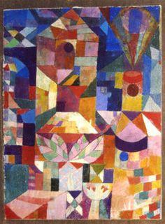 Paul Klee (1879-1940) in de titels die hij later zijn werken meegaf is Klee als de dichter nog te herkennen. Bijvoorbeeld bij 'de Tjilpmachine' uit 1922: een fijne pentekening in waterverf van vier graatmagere fantasievogels op een heel dun takje. Het is door de titel dat de toeschouwer er ook geïmiteerde vogelgeluiden bij hoort. Met dit geestige werk bespot Klee het vertrouwen van de mens in de wonderen van het machinetijdperk. -Garden view
