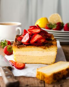 Cream Cheese Stuffed French Toast Loaf - a baked french toast with a cheesecake filling and a buttery, crunchy top piled high with strawberries. Made with plain sandwich bread, so easy and fast! Breakfast Cake, Breakfast Dishes, Breakfast Recipes, Brunch Recipes, Milk Recipes, Breakfast Casserole, Bread Recipes, Dessert Recipes, My Favorite Food