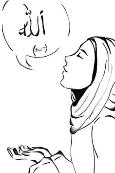 Muslimah Saying Allah (Drawing) Cartoon Sketches, Cartoon Pics, Cute Cartoon, Anatomy Coloring Book, Coloring Books, Kids Coloring, Muslim Images, Angel Coloring Pages, Islamic Cartoon