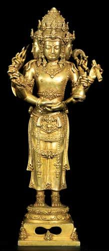 """Balinese Gold Figure of Brahma - AM.141 (LSO)  Origin: Indonesia  Circa: 900 AD to 1300 AD  Dimensions: 9.5"""" (24.1cm) high x 4.5"""" (11.4cm) wide  Collection: Asian Art  Style: Balinese  Medium: Gold"""